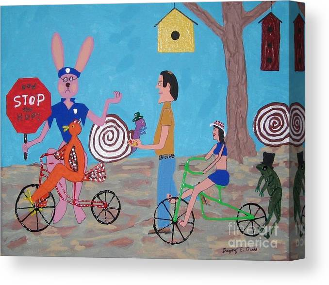 Rabbit Canvas Print featuring the painting Blunderland by Gregory Davis