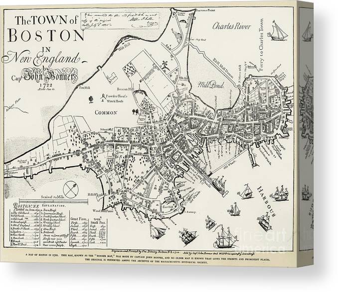 1722 Canvas Print featuring the photograph Boston Map, 1722 by Granger