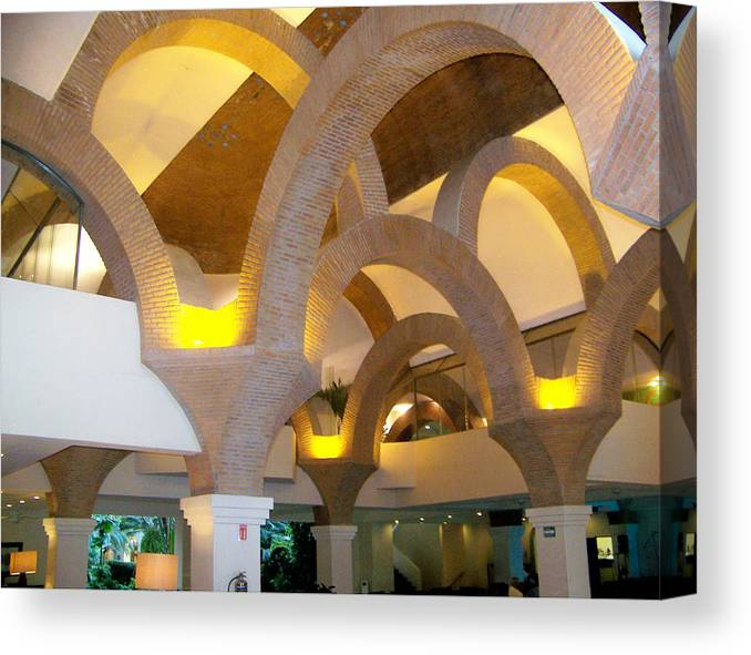 Art Canvas Print featuring the pyrography Brick Arches by George Pasini