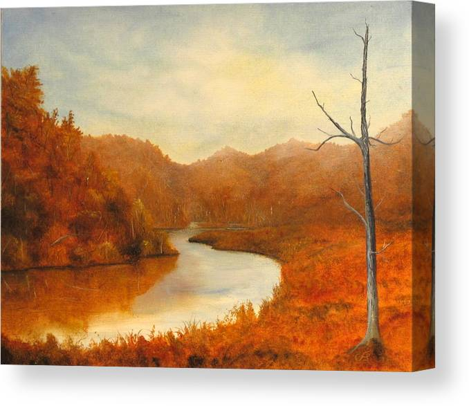 River Canvas Print featuring the painting Complementry River by Catfish Lawrence