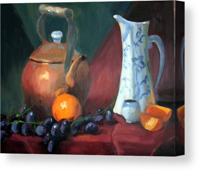 Copper Canvas Print featuring the painting Copper And Neiman Vase by Britta Herzog