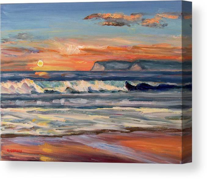 1aae7d9d11 Coronado Canvas Print featuring the painting Coronado Sunset Surf by Robert  Gerdes