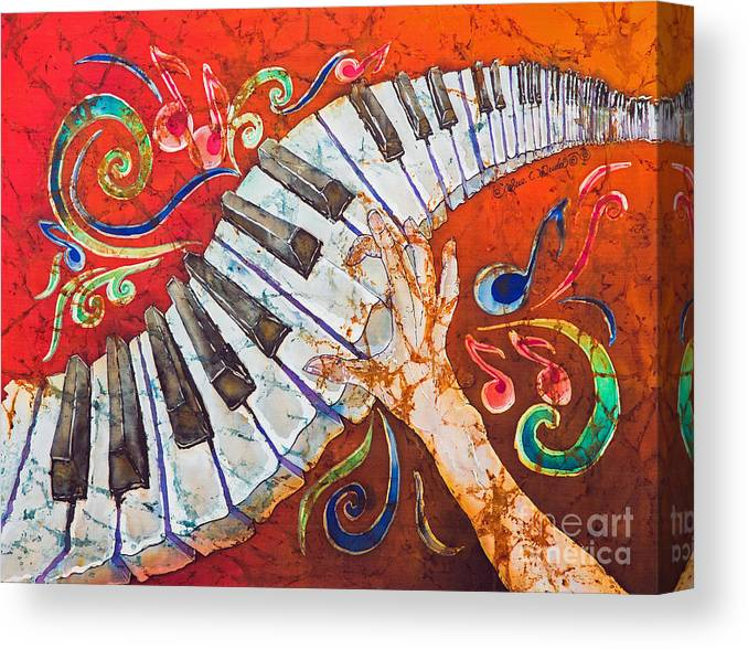Piano Canvas Print featuring the tapestry - textile Crazy Fingers - Piano Keyboard by Sue Duda