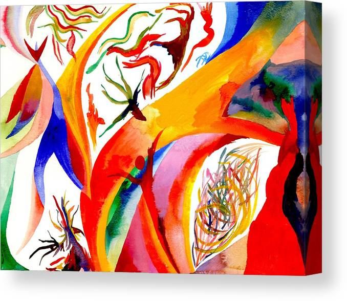 Shaman Canvas Print featuring the painting Dance Of Shaman by Peter Shor