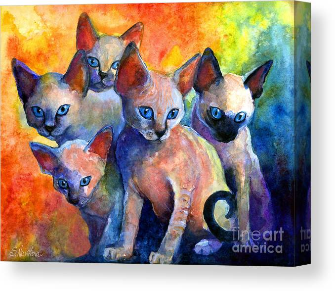 Kittens Canvas Print featuring the painting Devon Rex Kitten Cats by Svetlana Novikova