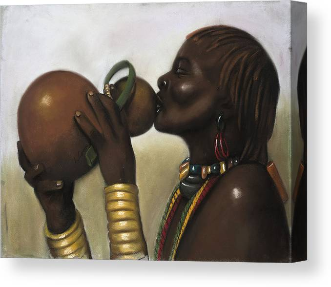 L Cooper Canvas Print featuring the pastel Drinking Gourd by L Cooper