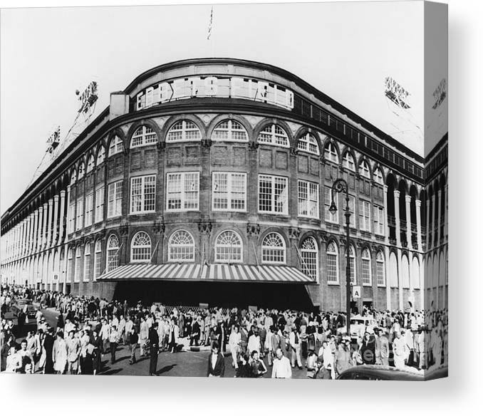 Historic Canvas Print featuring the photograph Ebbets Field, Brooklyn, Nyc by Photo Researchers