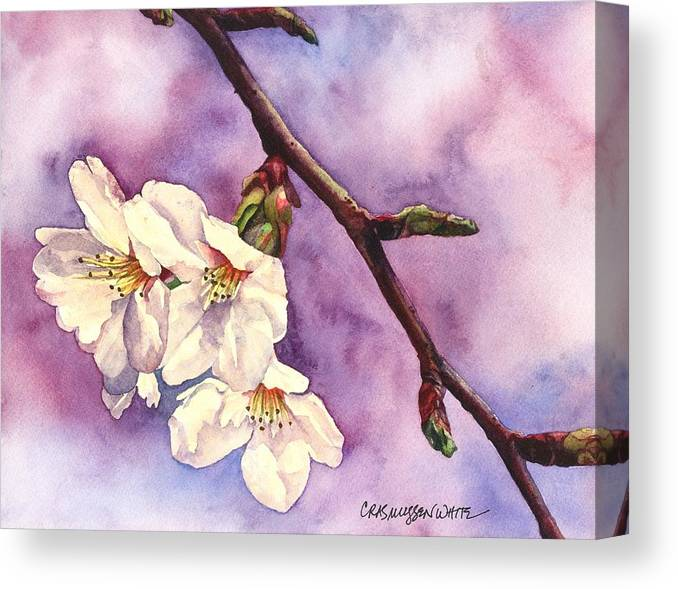 Watercolor Canvas Print featuring the painting Faith Hope And Love by Casey Rasmussen White