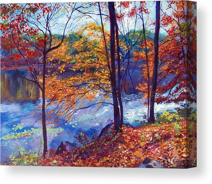 Landscape Canvas Print featuring the painting Falling Leaves by David Lloyd Glover