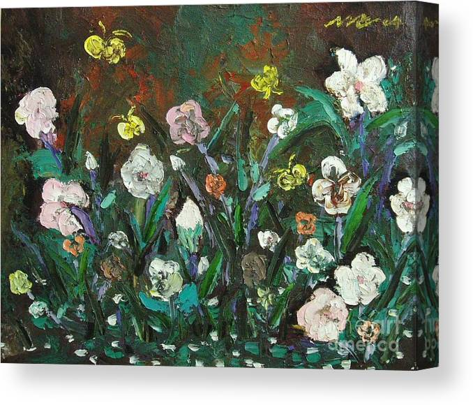 Abstract Paintings Canvas Print featuring the painting Flower Garden by Seon-Jeong Kim