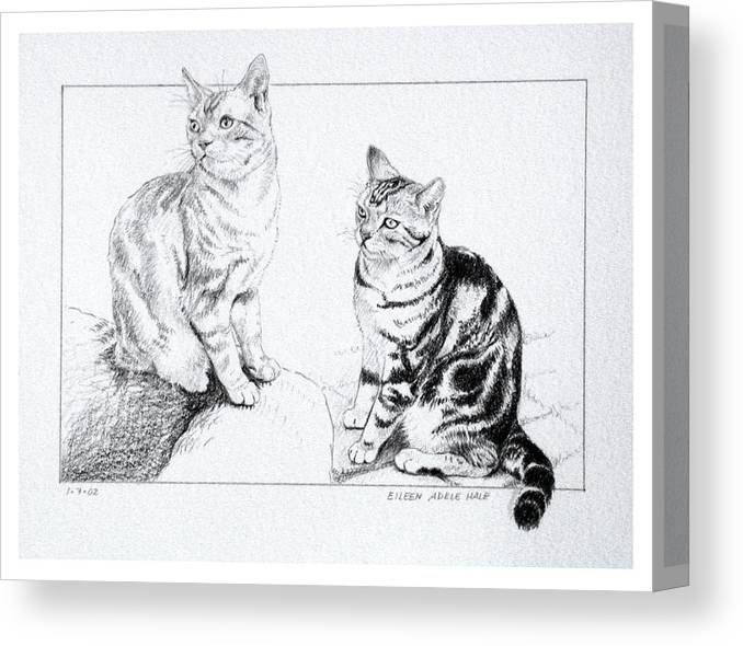Portrait Canvas Print featuring the drawing Fred And Ginger by Eileen Hale