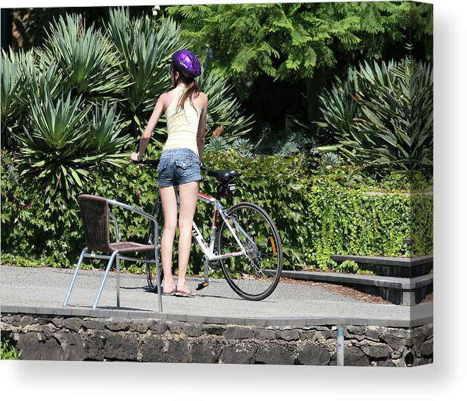 People Canvas Print featuring the photograph Girl And Bicycle by Masami Iida