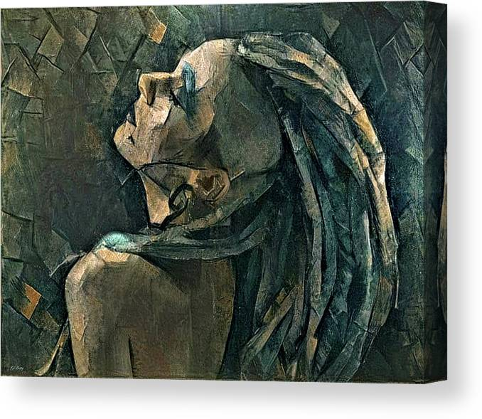 Dreadlocks Canvas Print featuring the mixed media Girl With The Dreadlocks by G Berry