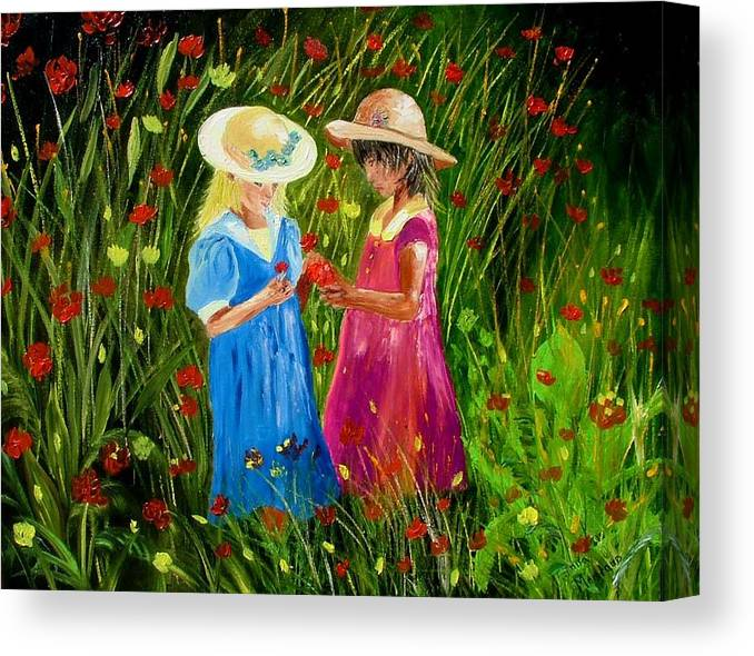 Girls Canvas Print featuring the painting Girls With Flowers by Inna Montano