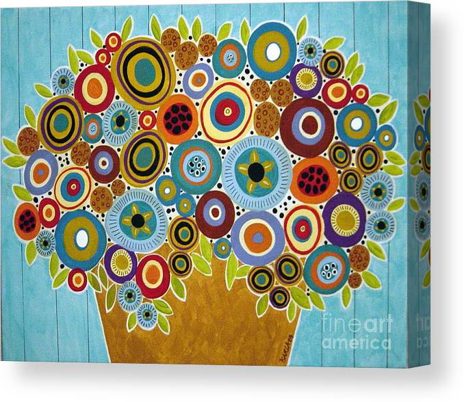 Flowers Canvas Print featuring the painting Golden Pot Of Blooms by Karla Gerard