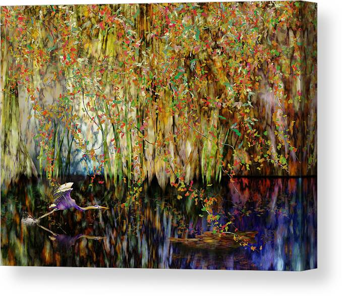 Heron Canvas Print featuring the digital art Heron Cove by Gae Helton