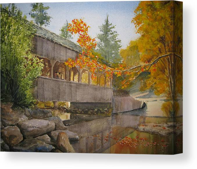 High Falls Canvas Print featuring the painting High Falls Bridge by Shirley Braithwaite Hunt