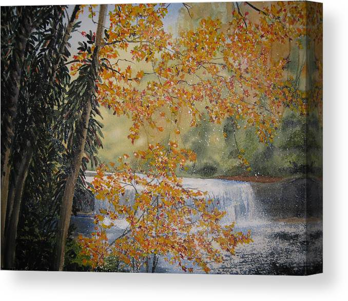 Landscape Canvas Print featuring the painting Hooker Falls by Shirley Braithwaite Hunt