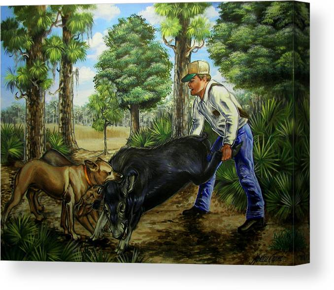 Hog Canvas Print featuring the painting Horace's Hunt by Monica Turner