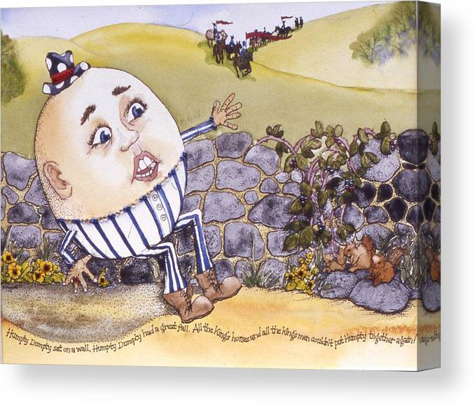 Humpty Dumpty Canvas Print featuring the painting Humpty Dumpty by Victoria Heryet