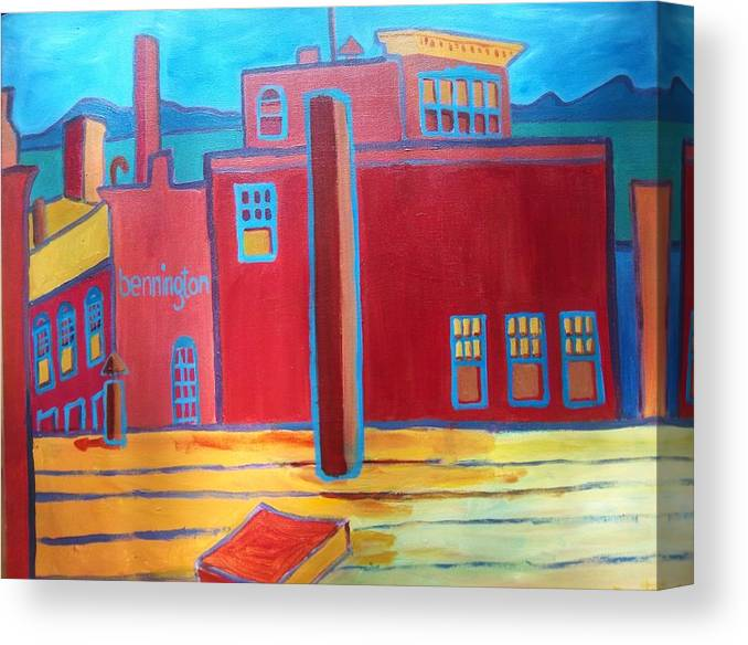 Landscape Canvas Print featuring the painting Lake Champlain Rooftop View by Debra Bretton Robinson