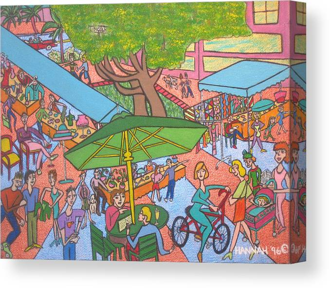 Scene Canvas Print featuring the painting Lincoln Road Flea Market by Hannah Lasky