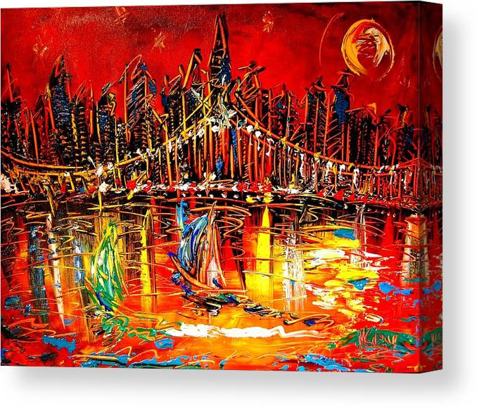 New York Canvas Print featuring the painting Manhattan Red by Mark Kazav