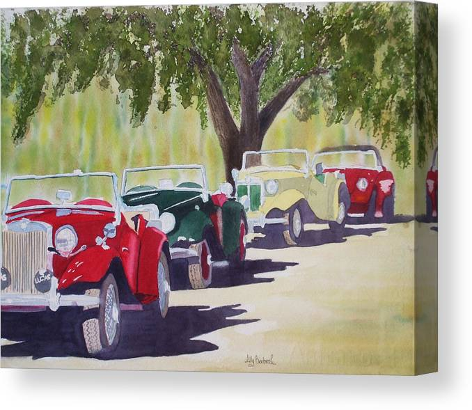 Mg Canvas Print featuring the painting Mgs At Simpsons by Ally Benbrook