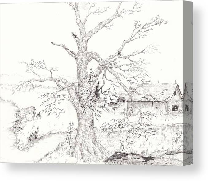 Realistic Drawing Canvas Print featuring the drawing Midwest Usa by Dan Theisen