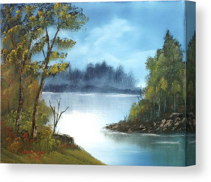 Oil Canvas Print featuring the painting Misty River by Larry Hamilton