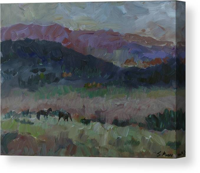 Lanscape Canvas Print featuring the painting Mustangs by Susan Moore