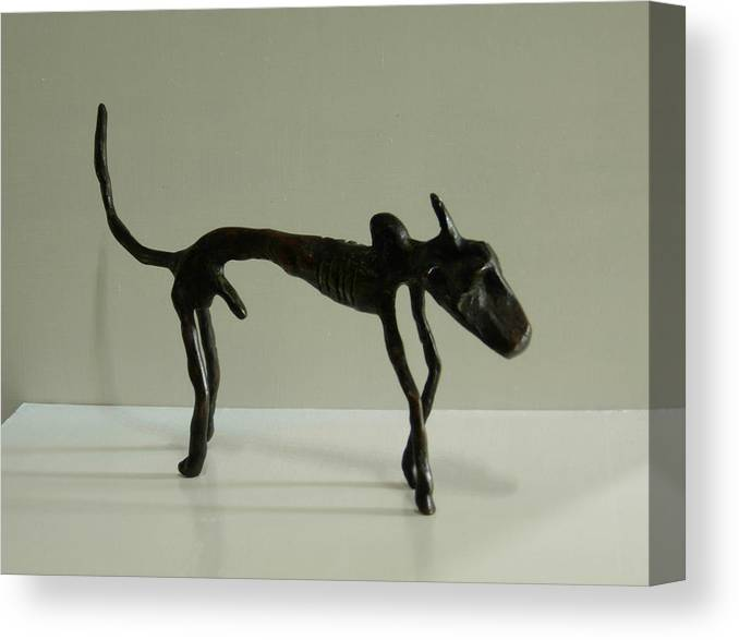 Bull Canvas Print featuring the sculpture No. 130 by Vijayan Kannampilly