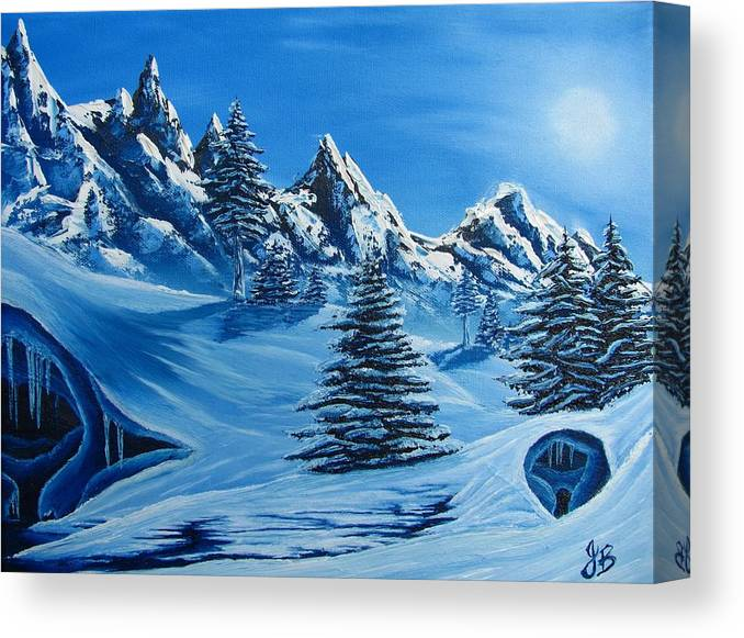 Blue Winter Landscape Canvas Prints Painting Nature Mountains Canvas Prints Blue Ice Cave Painting Prints Blue Mountains Paintings Monochromatic Blue Landscape Paintings Bizarre Paintings Strange Paintings Erie Paintings Odd Paintings Odd Art Sky Face North Face Of Winter Weird Paintings Blue Pine Trees Blue Spruce Paintings Blue Trees Blue Art Fine Art Blue Peaks Blue Range Blue Snow Blue Snowscapes Blue Winterscapes Coldscapes Blue Sky Paintings Canvas Print featuring the painting North Face by Joshua Bales