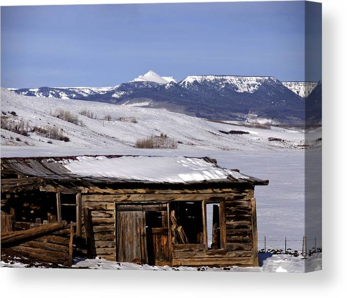 Old Homestead Near Toponas Canvas Print featuring the photograph Pagoda Peak In Flat Tops Once Upon A Time by Daniel Hebard