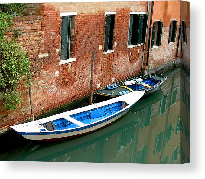 Canvas Print featuring the photograph Peacefull Canal Parking by Joseph Reilly