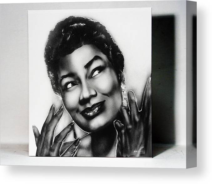 Airbrush Canvas Print featuring the painting Pearl Bailey by Osborne Wolfskill Montaque