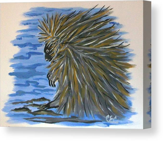 Porcupine Canvas Print featuring the painting Porcupine by Carolyn Cable