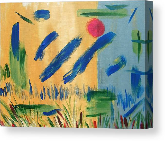 Abstract Canvas Print featuring the painting Primitive Paradise by Lenore Senior