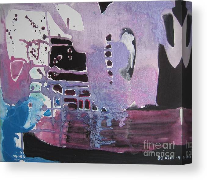 Abstract Paintings Canvas Print featuring the painting Purple Seascape by Seon-Jeong Kim