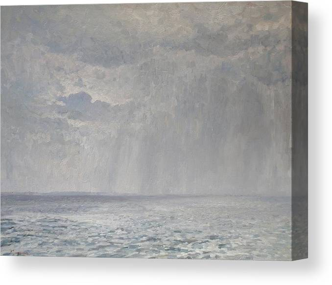 Landscape Canvas Print featuring the painting Rain Under The Volga by Andrey Soldatenko