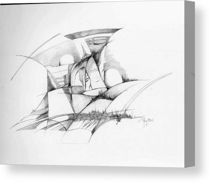 Rocks Canvas Print featuring the drawing Rockscape 2 by Padamvir Singh