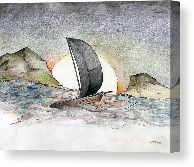 Sail Away Canvas Print featuring the drawing Sail Away by Justin Hiatt