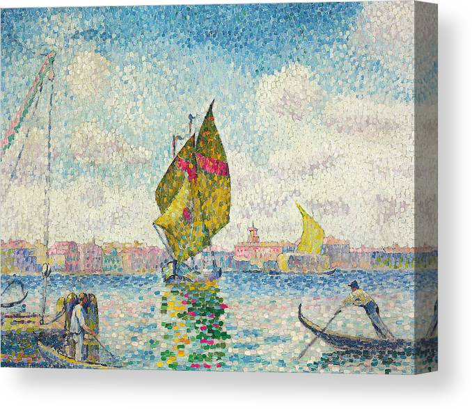 Pointillism Canvas Print featuring the painting Sailboats On Giudecca Or Venice, Marine by Henri-Edmond Cross