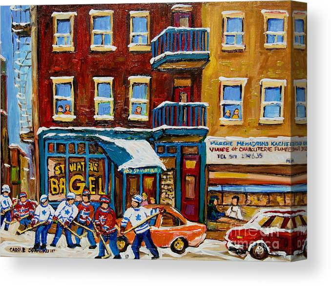 Montreal Canvas Print featuring the painting Saint Viateur Bagel With Hockey by Carole Spandau