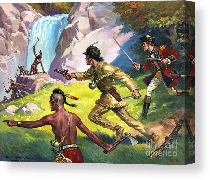 Saved From The Redskins Canvas Print featuring the painting Wild West Scene by Derek Charles Eyles
