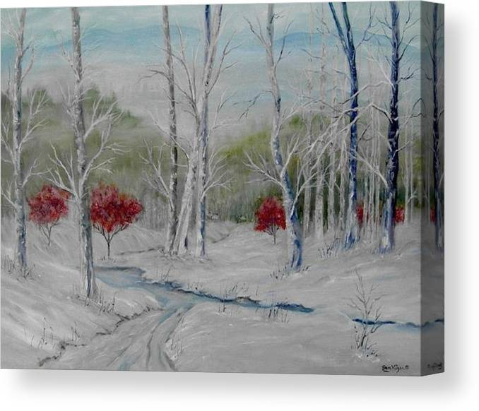Snow; Winter; Birch Trees Canvas Print featuring the painting Silence by Ben Kiger