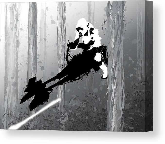 Star Wars Canvas Print featuring the digital art Speeder Bike by Nathan Shegrud