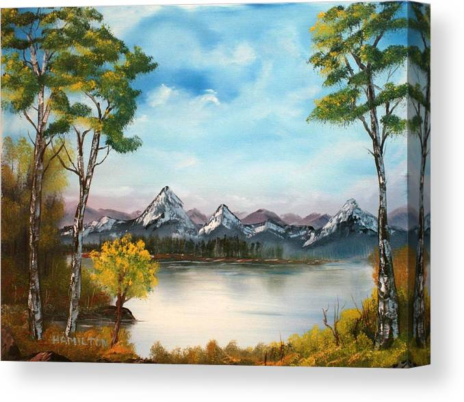 Oil Canvas Print featuring the painting Spring Morning By The Lake by Larry Hamilton