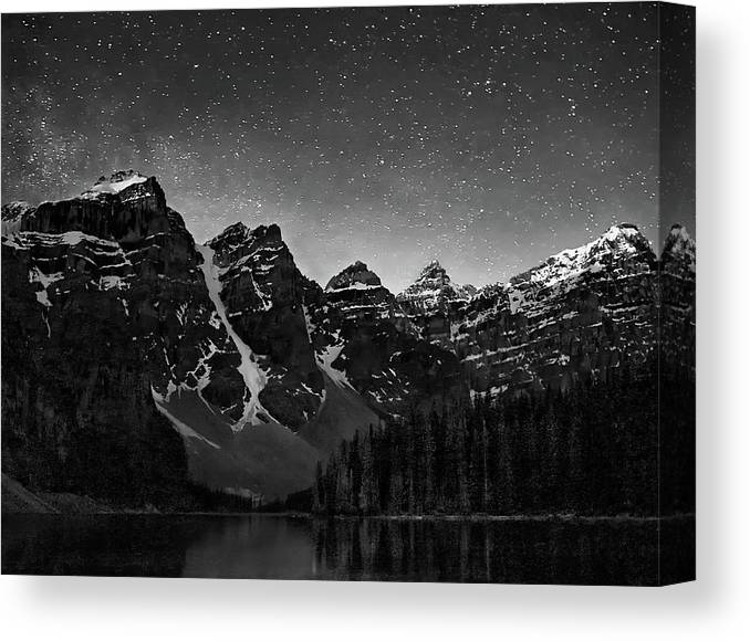 Night Sky Canvas Print featuring the photograph Stars Over Ten Peaks by Art Cole