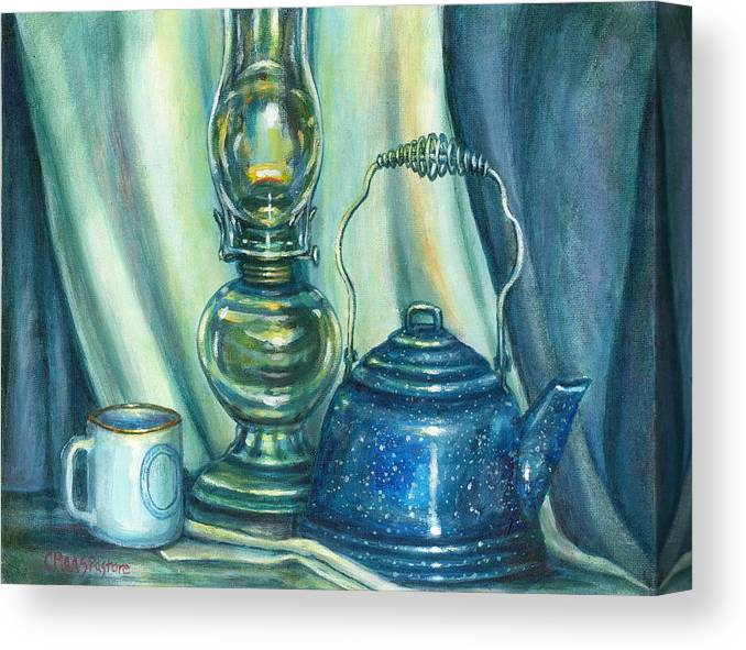 Painting Canvas Print featuring the painting Still Life With Blue Tea Kettle by Colleen Maas-Pastore